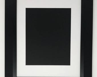 """22x28 2"""" 2"""" Black Beveled Contemporary Solid Wood Picture Frame with White Mat Cut for 18x24 Picture"""