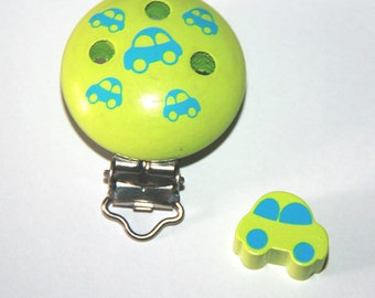 Wooden clip and fancy bead car lime