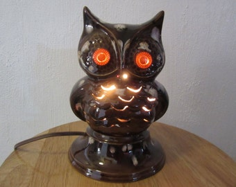 Vintage Mid Century Owl Night Light Lamp, Vintage Owl Night Light Lamp, Owl Night Light, Ceramic Owl Night Light Lamp