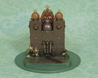 Hand Beaded Miniature Coppers & Sage Fantasy Palace Figurine