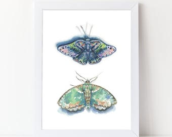 Watercolor Moths Print - Watercolor Art Print - Girls Room Art