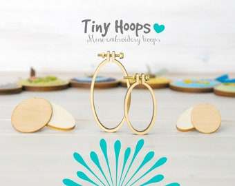 DIY Mini Embroidery Hoop Kits - Pack of 2 - 27mm x 45mm & 34mm x 62mm - DIY Mini Oval Necklace Hoop Kit - Brooch Mini Hoop Kit - Tiny Hoops