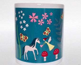Fairy and unicorn whimsical fairytale mug