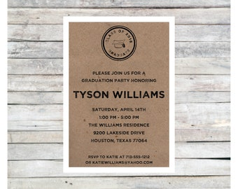 Tyson graduation party invitation, high school graduation, college graduation, printed graduation invite, rustic graduation, digital file