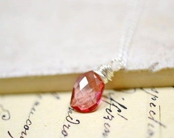 Candy Pink Gemstone Necklace, Mystic Pink Quartz Sterling Silver Wire Wrap Checkerboard Cut Briolette, Handmade Jewelry