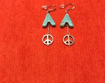 RJ Body Treasure Handmade, Blue, Hanging, Peace, Earrings