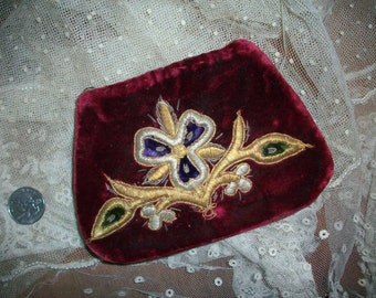 19th century velvet little purse with pretty embroidery
