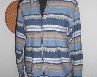 Vintage Silk Carte' Large Silk Bomber Windbreaker Jacket ~ Strips ~ Striped Hipster Indie Woman's Large L