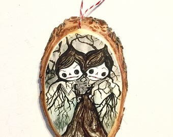 Cute conjoined twin tree sugar skull Ornament Wooden Handmade Forest Decoration