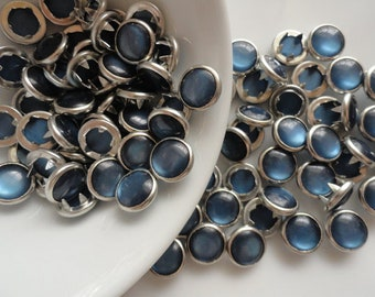 Navy Pearl Snaps set of 6/ Western snaps