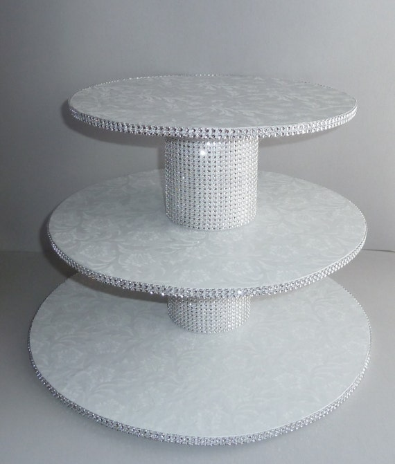 cupcake stand white wedding faux rhinestone foil candy buffet