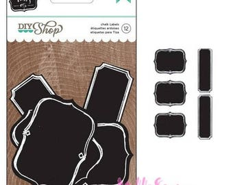 Set of 12 tags effect slate American Crafts scrapbooking card making. *