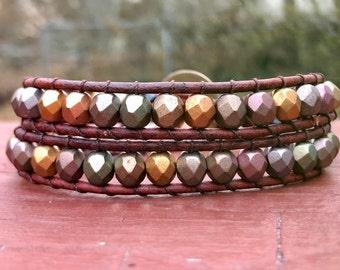 Neutral Color Bead Bracelet, Neutral Wrap Bracelet, Boho Wrap Bracelet, Leather Wrap Bracelet, Bohemian Bracelet, Multicolor Bracelet