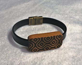 Leather Bracelet with Wood Slider