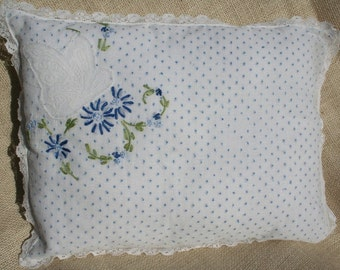 Vintage Embroidered Pillow with Butterfly Blue Swiss Dot