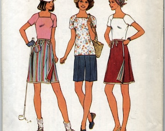 Pullover Top, Reversible Wrap Skirt, And Shorts  Sewing Pattern - Simplicity 7501 - Size 16 1/2 - Bust 39 - UNCUT