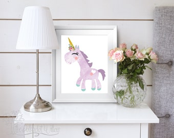 8x10 11x14 Unicorn print, unicorn watercolor, unicorn wall art, unicorn art, unicorn room decor, unicorn nursery, Purple unicorn printable