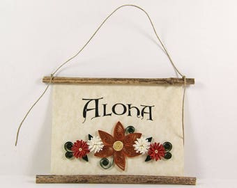 Aloha, Hawaiian Welcome, Paper Quilled Welcome Sign, 3D Quilled Banner, Rust Brown White Red Decor, Hawaii Gift, Rustic  Decor