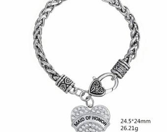 Maid of Honor charm crystal heart bracelet
