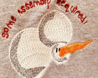 """Embroidered Toppled Snowman Gray Sweatshirt - i.e. """"some assembly required!"""" by HANES"""