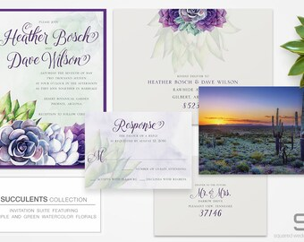 Succulent Wedding Invitation - DEPOSIT - Watercolor Desert Invitation - Wedding Invites, Custom Designed Succulents, Summer Weddings