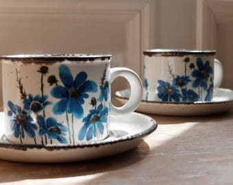 A Pair of Midwinter Stonehenge  'Spring' Cups & Saucers