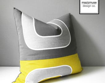 Decorative Acid Yellow & Grey Outdoor Pillow Cover, Mid Century Modern, Geometric Pillow Cover, Citron Sunbrella Cushion Cover, Mazizmuse