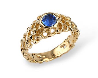 CORAL Gold Blue Sapphire Engagement Ring, Sapphire Statement Ring, Gold Sapphire Ring, Unique Engagement Ring, Blue Sapphire Ring