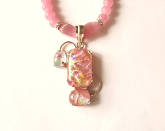 Dichroic Necklace, Sterling Silver Dichroic Pendant and Pink Glass Bead Necklace