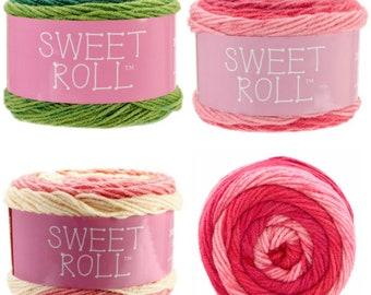 Premier Sweet Roll Yarn - Mint Swirl - Pink Swirl and Peaches or Cream Colors Self Stripping Yarn