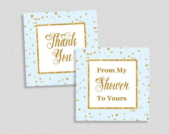 Baby Shower Favor Tags, Thank You and From My Shower To Yours Shower Favor Tags, Blue & Gold Glitter Confetti, INSTANT PRINTABLE