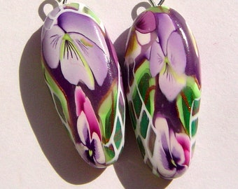 Purple Pansy Dagger Style Charm Handmade Artisan Polymer Clay Beads Pair