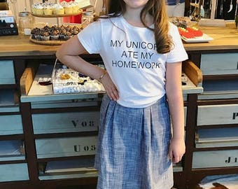 My Unicorn Ate My Homework for Girls, Back to School T-shirt, Unicorn T-Shirt, Back to School Tee, Graphic T-Shirt for Girls