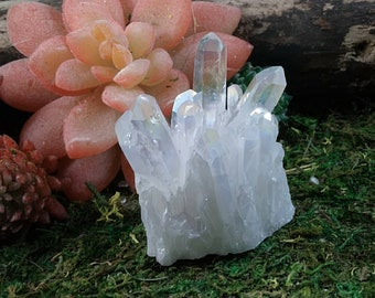 Angel aura opal aura crystal cluster aura crystals rainbow aura Crystal pendants rainbow quartz electoplated aura quartz D7