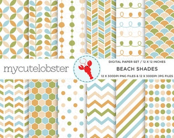 Digital Paper Set - Beach Shades - patterned paper pack, honeycomb, polka, chevron - personal use, small commercial use, instant download