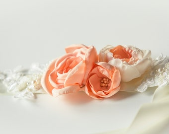 One of a Kind Peach  Bridal Sash - Bridal Sash belt- Wedding Sash - Bridal Belt - Bridesmaid Sash - Wedding Dress Sash