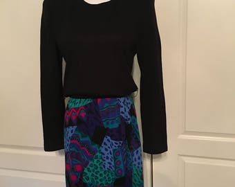 Vintage Jessica Howard Black and Abstract Knit Dress