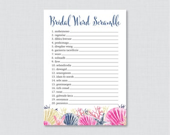 Nautical Bridal Shower Word Scramble - Printable Beach Themed Bridal Shower Game - Pink and Navy Bridal Word Scramble Game 0012-P