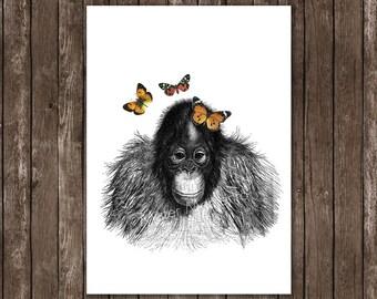monkey poster print - orang utan baby with butterflies - monkey art print, giclee
