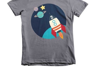 Astronaut T-Shirt, Planets T-Shirt, Out Of Space T-Shirt, Outer Space T-Shirt, Kids T-Shirt Personalize With Age, Personalized Birthday Gift