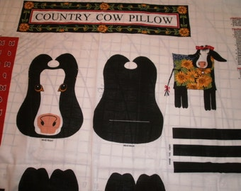 Country cow pillow pattern panel