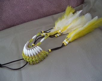 Yellow and white Car accessories for him, Rear view mirror accessories ,Boho , Beaded mirror charm ,New car gift ,Housewarming gift