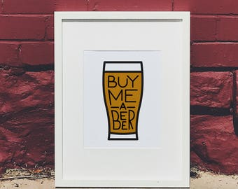 Buy Me a Beer Hand Lettered Wall Art