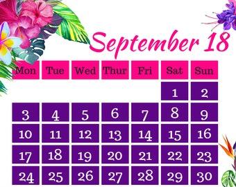 September 2018 Printable Calendar A4