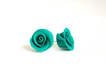 Polymer clay earrings - emerald green roses - colorful stud earrings