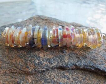 Handmade Lampwork Glass Bead Set - Earring Supplies - Borosilicate Abstract Swirls - Silverfish Designs