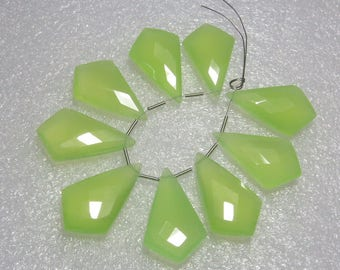 Chalcedony Prehnite Green Color Faceted - 5 Matching Pairs - Fancy Shape - size 15x25 mm
