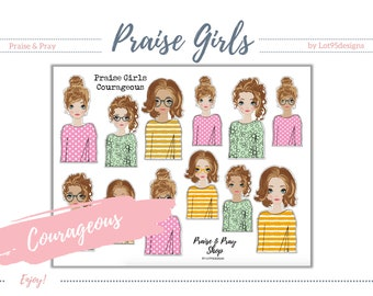 """Praise Girls """"Courageous"""" Brunette (with faces). Perfect for journaling bibles or faith journals! Digital, printable stickers."""