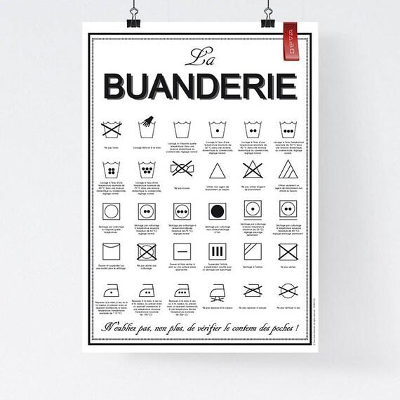 Bien connu A3 Affiche papier La Buanderie lavage machine à laver NJ96
