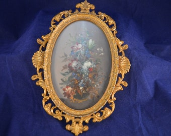 Vintage ITALIAN  Gilt Framed Miniature Painting - Rococo Style Frame - Larger Size